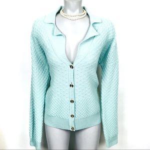ST. JOHN Button Up Wool Cardigan Sz L